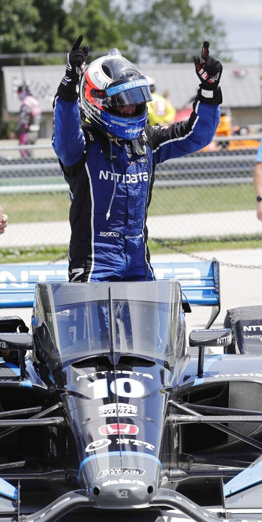 IndyCar driver Felix Rosenqvist reacts after winning auto race two of the REV Group Grand Prix, Sunday, July 12, 2020, at Road America in Elkhart Lake, Wis. (Gary C. Klein/The Sheboygan Press via AP)