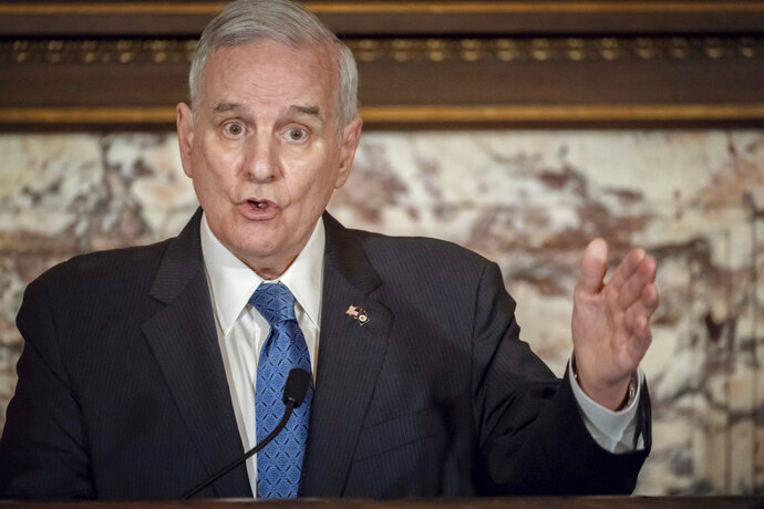 Governor Mark Dayton held a press conference to announce that he made good on a vow to veto the Republican tax and omnibus budget bills Wednesday, May 23, 2018, in St. Paul, Minn.   (Glen Stubbe/Star Tribune via AP)