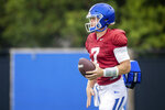 Kentucky quarterback Will Levis (7) warms up during an open practice in Lexington, Ky., Tuesday, Aug. 17, 2021. (AP Photo/Michael Clubb)