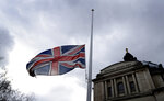 A Union flag flies at half mast in Westminster in London, Friday, March 15, 2019. Multiple people were killed in mass shootings at two mosques full of worshippers attending Friday prayers on what the prime minister called