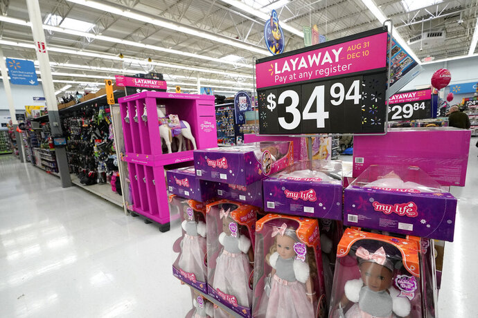 FILE- In this Nov. 9, 2018, file photo toys are displayed at a Walmart Supercenter in Houston. On Friday, Jan. 11, 2019, the Labor Department reports on U.S. consumer prices for December. (AP Photo/David J. Phillip, File)