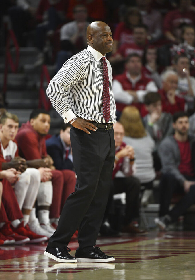 Arkansas coach Mike Anderson watches on the sidelines against Mississippi during the second half of an NCAA college basketball game, Saturday, March 2, 2019 in Fayetteville, Ark. (AP Photo/Michael Woods)
