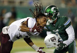 Tulane wide receiver Jalen McCleskey (1) is called for grabbing the helmet of Missouri State cornerback Darius Joseph (2) during an NCAA college football game Saturday, Sept. 14, 2019, in New Orleans. (A.J. Sisco/The Advocate via AP)
