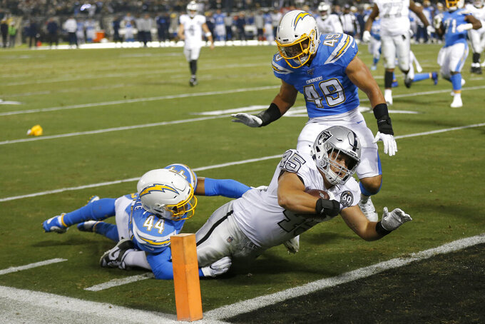 Oakland Raiders running back Alec Ingold (45) dives for the end zone to score past Los Angeles Chargers outside linebacker Kyzir White (44) and linebacker Drue Tranquill (49) during the first half of an NFL football game in Oakland, Calif., Thursday, Nov. 7, 2019. (AP Photo/D. Ross Cameron)