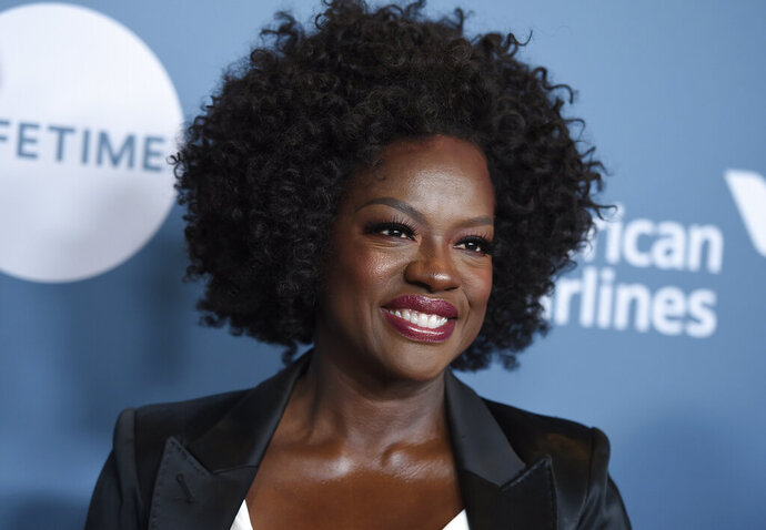 FILE - Viola Davis arrives at The Hollywood Reporter's Women in Entertainment Breakfast on Dec. 5, 2018, in Los Angeles. Davis, Sterling K. Brown and LeBron James are among several honorees at the AAFCA TV Honors later this month. The African American Film Critics Association announced the recipients of the second annual event on Wednesday. The virtual ceremony is scheduled to air Aug. 22. (Photo by Jordan Strauss/Invision/AP, File)