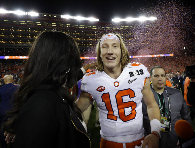 Clemson's Trevor Lawrence celebrates after the NCAA college football playoff championship game against Alabama, Monday, Jan. 7, 2019, in Santa Clara, Calif. Clemson beat Alabama 44-16. (AP Photo/David J. Phillip)