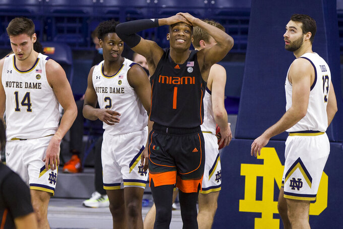 Miami's Anthony Walker (1) reacts after getting called for an offensive foul during the second half of an NCAA college basketball game against Miami on Sunday, Feb. 14, 2021, in South Bend, Ind. Notre Dame won 71-61. (AP Photo/Robert Franklin)