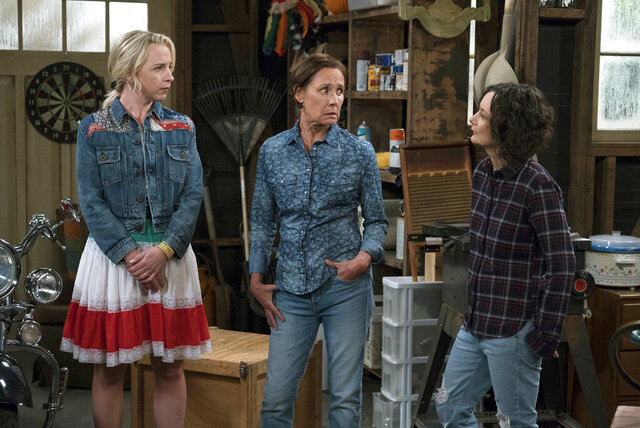 FILE - This image released by ABC shows Lecy Goranson, from left, Laurie Metcalf and Sara Gilbert in a scene from