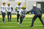 Green Bay Packers wide receiver Davante Adams (17) participates in a drill during the Packers NFL football practice Friday Jan. 17, 2020, in Green Bay, Wis. The Packers will play the San Francisco 49ers in the NFC Championship game on Sunday. (AP Photo/Mike Roemer)