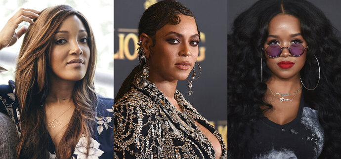 This combination photo shows from left, Mickey Guyton, Beyonce Knowles and H.E.R., whose songs about the Black experience all landed Grammy nominations Tuesday.  (AP Photo)