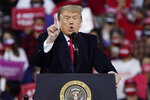 President Donald Trump speaks at a campaign rally, Saturday, Sept. 19, 2020 at the Fayetteville Regional Airport in Fayetteville, N.C. There were two men in 1980s Manhattan who craved validation — one a past president, one a future president. That's how a thirty-something Donald Trump and a seventy-ish Richard Nixon struck up a decade-long correspondence in the 1980s that meandered from football and real estate to Vietnam and media strategy. Their letters are being revealed for the first time in an exhibit that opens Thursday at the Richard Nixon Presidential Library & Museum. (AP Photo/Chris Carlson)