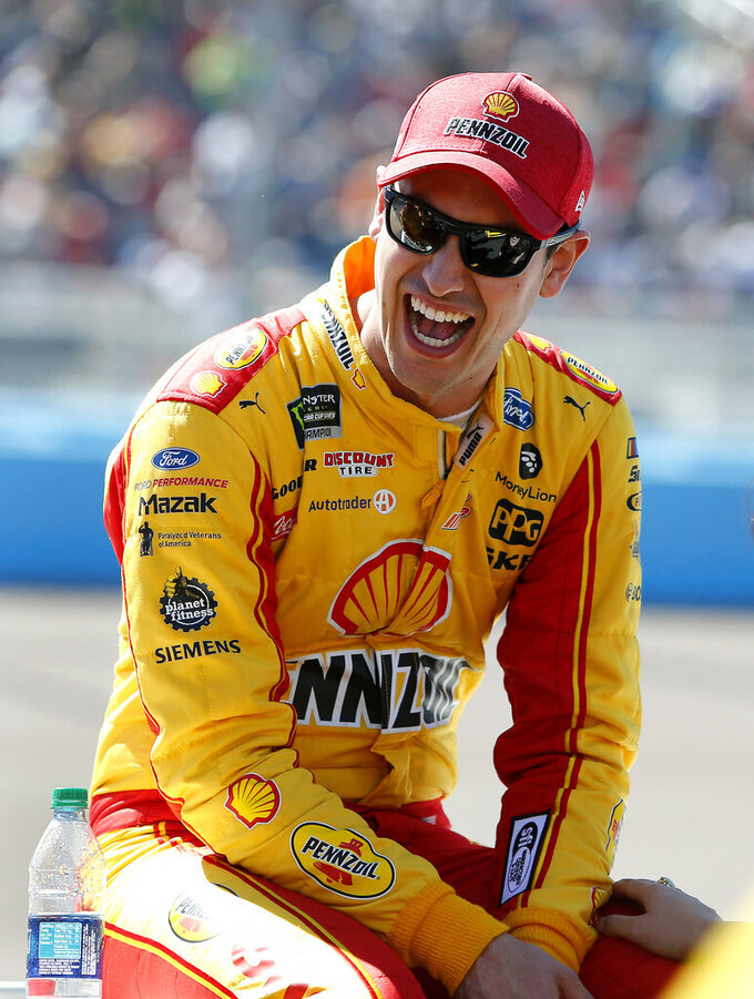 Driver Joey Logano prior to the start of the NASCAR Cup Series auto race at ISM Raceway, Sunday, March 10, 2019, in Avondale, Ariz. (AP Photo/Ralph Freso)