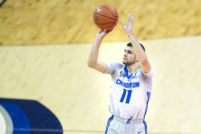 Creighton's Marcus Zegarowski scores against North Dakota State during the second half of an NCAA college basketball game in Omaha, Neb., Sunday, Nov. 29, 2020. (AP Photo/Kayla Wolf)