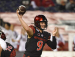 San Diego State quarterback Ryan Agnew (9) delivers a pass during the first half of a college football game against Nevada Saturday, Nov. 9, 2019, in San Diego. U.S. (AP Photo/Denis Poroy)