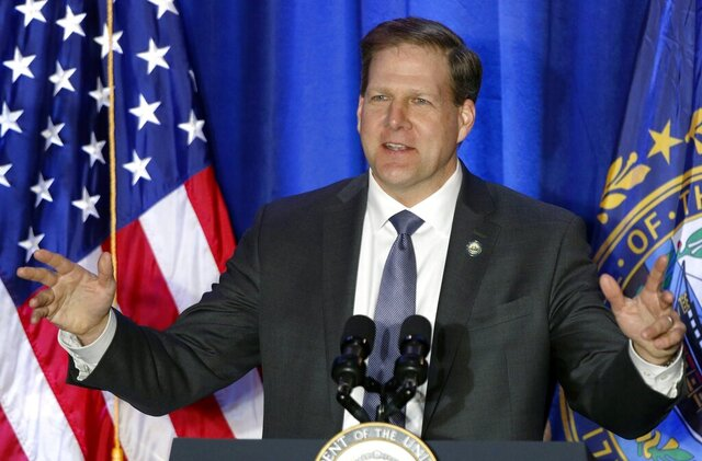 FILE - In this Feb. 10, 2020, file photo New Hampshire Republican Gov. Chris Sununu speaks at a Cops for Trump rally in Portsmouth, N.H. Sununu is seeking his party's nomination in the Tuesday, Sept. 8, primary to run for re-election in November. (AP Photo/Robert F. Bukaty, File)