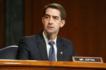 Sen. Tom Cotton, R-Ark., speaks during a confirmation hearing for Secretary of Defense nominee Lloyd Austin, a recently retired Army general, before the Senate Armed Services Committee on Capitol Hill, Tuesday, Jan. 19, 2021, in Washington. (Greg Nash/Pool via AP)