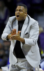 FILE - In this Dec. 15, 2018, file photo, Georgia State head coach Ron Hunter gestures during the second half of an NCAA college basketball game against Kansas State, in Manhattan, Kan. Hunter has no illusions about what his Georgia State team must do this weekend to reach the NCAAs. Win the conference tournament _ or settle for the NIT. (AP Photo/Charlie Riedel, File)