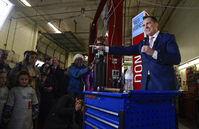 Surrounded by friends, family and supporters former Speaker of the House Greg Hughes announces his campaign run for Governor of Utah at Dee's Automotive in Murray, Utah.,  Wednesday, Jan. 8, 2020. (Francisco Kjolseth/The Salt Lake Tribune via AP)