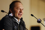 Baseball agent Scott Boras jokes during a news conference at the Major League Baseball winter meetings Monday, Dec. 9, 2019, in San Diego. Nationals pitcher and World Series MVP Stephen Strasburg agreed to a record $245 million, seven-year contract on Monday. (AP Photo/Gregory Bull)
