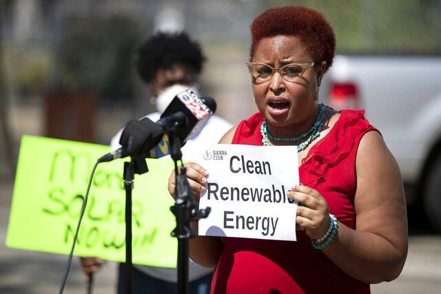 Marquita Bradshaw, environmental justice chair of the Sierra Club Chickasaw Group, speaks July 7, 2020, during a news conference in front of City Hall in downtown Memphis, Tenn. Bradshaw scored an upset win over former Army helicopter pilot James Mackler in the Tennessee Democratic primary for U.S. Senate, on Thursday, Aug. 6, 2020, and will face former U.S. Ambassador to Japan Bill Hagerty in the November election. (Max Gersh/The Commercial Appeal via AP)