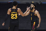 Arizona State's Marcus Bagley, left, and Arizona State's Remy Martin, right, celebrate in the second half of an NCAA college basketball game against Rhode Island, Wednesday, Nov. 25, 2020, in Uncasville, Conn. (AP Photo/Jessica Hill)