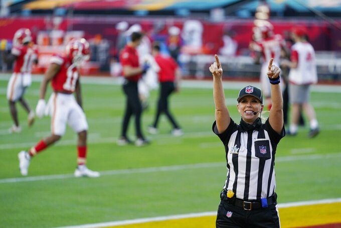 Down judge Sarah Thomas (53) arrives before the NFL Super Bowl 55 football game between the Kansas City Chiefs and Tampa Bay Buccaneers, Sunday, Feb. 7, 2021, in Tampa, Fla. (AP Photo/Mark Humphrey)