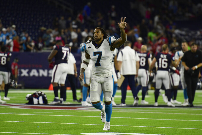 Carolina Panthers' Shaq Thompson (7) celebrates after an NFL football game against the Houston Texans Thursday, Sept. 23, 2021, in Houston. The Panthers won 24-9. (AP Photo/Justin Rex)