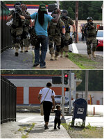 This combination of photos shows police wearing riot gear walking toward a man with his hands raised on Aug. 11, 2014, top, and the same location with a woman and child walking on Canfield Drive toward West Florissant Avenue on July 24, 2019, in Ferguson, Mo. (AP Photo/Jeff Roberson)