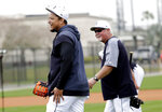 Detroit Tigers first baseman Miguel Cabrera, left, walks on the field with manager Ron Gardenhire at the their spring training baseball facility, Monday, Feb. 18, 2019, in Lakeland, Fla. (AP Photo/Lynne Sladky)