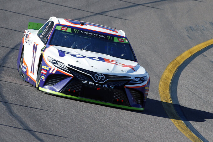 Denny Hamlin during the NASCAR Cup Series auto race at ISM Raceway, Sunday, Nov. 10, 2019, in Avondale, Ariz. (AP Photo/Ralph Freso)