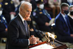 "President Joe Biden speaks during a ceremony to honor slain U.S. Capitol Police officer William ""Billy"" Evans as he lies in honor at the Capitol in Washington, Tuesday, April 13, 2021. (AP Photo/J. Scott Applewhite, Pool)"