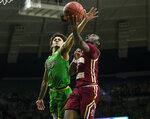 Boston College's Jay Heath (5) tries to shoot past Notre Dame's Prentiss Hubb (3) during an NCAA college basketball game Saturday, Dec. 7, 2019 at Purcell Pavilion in South Bend, Ind. (Michael Caterina/South Bend Tribune via AP)