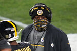 Pittsburgh Steelers head coach Mike Tomlin stands on the sideline during the first half of an NFL football game against the Washington Football Team, Monday, Dec. 7, 2020, in Pittsburgh. (AP Photo/Keith Srakocic)