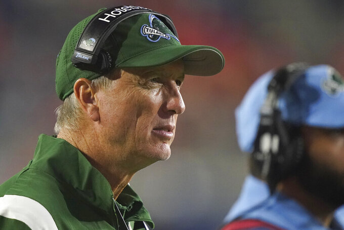 Tulane head coach Willie Fritz watches his team play against Mississippi during the second half of an NCAA college football game Saturday, Sept. 18, 2021, in Oxford, Miss. Mississippi won 61-21. (AP Photo/Rogelio V. Solis)