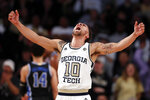 Georgia Tech guard Jose Alvarado (10) reacts after a Tech basket in the first half of an NCAA college basketball against Duke game Wednesday, Jan. 8, 2020, in Atlanta. (AP Photo/John Bazemore)