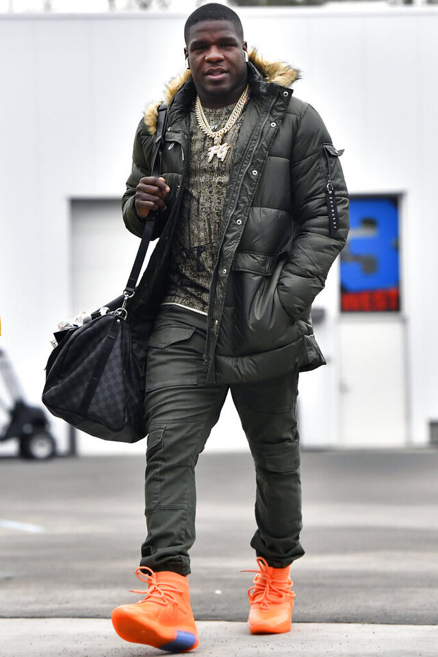 FILE - In this Dec. 29, 2019, file photo, Buffalo Bills' Frank Gore arrives for an NFL football game against the New York Jets in Orchard Park, N.Y. Gore just turned 37. Entering his first season with the Jets, Gore is feeling fresh and ready to help carry the load with Le'Veon Bell in New York's backfield. (AP Photo/Adrian Kraus, File)