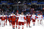 FILE - Russian athlete Kirill Kaprizov (77) celebrates after the semifinal round of the men's hockey game against the Czech Republic at the 2018 Winter Olympics in Gangneung, South Korea, in this Friday, Feb. 23, 2018, file photo. Olympic Athletes from Russia won 3-0. The Minnesota Wild, who have not won a playoff series in six years, seek to capitalize on the spark created by Russian rookie Kirill Kaprizov and lean on stalwarts like Zach Parise, Ryan Suter and Jared Spurgeon to make strides in this abbreviated season. (AP Photo/Matt Slocum, File)