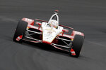 Josef Newgarden drives into turn one during practice for the Indianapolis 500 IndyCar auto race at Indianapolis Motor Speedway, Monday, May 20, 2019, in Indianapolis. (AP Photo/Darron Cummings)