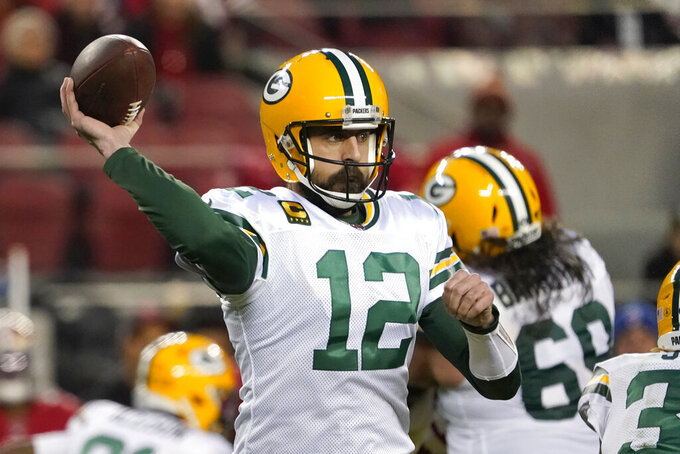 Green Bay Packers quarterback Aaron Rodgers (12) passes against the San Francisco 49ers during the second half of the NFL NFC Championship football game Sunday, Jan. 19, 2020, in Santa Clara, Calif. (AP Photo/Tony Avelar)