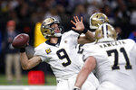 New Orleans Saints quarterback Drew Brees (9) passes in the first half of an NFL wild-card playoff football game against the Minnesota Vikings, Sunday, Jan. 5, 2020, in New Orleans. (AP Photo/Butch Dill)