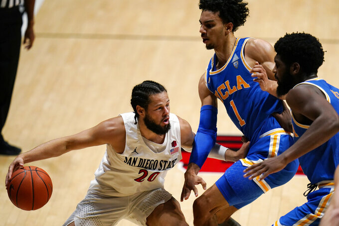San Diego State guard Jordan Schakel, left, drives to the basket as UCLA guard Jules Bernard defends during the first half of an NCAA college basketball game Wednesday, Nov. 25, 2020, in San Diego. (AP Photo/Gregory Bull)