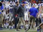 Duke coach David Cutcliffe watches during the second half of the team's NCAA college football game against Miami, Saturday, Nov. 3, 2018, in Miami Gardens, Fla. Duke won 20-12. (AP Photo/Lynne Sladky)