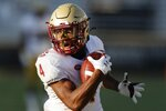 Boston College wide receiver Zay Flowers runs in his touchdown reception during the first half of an NCAA college football game against Pittsburgh, Saturday, Oct. 10, 2020, in Boston. (AP Photo/Michael Dwyer)