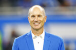 FILE - In this Sept. 29, 2019 file photo former Detroit Lions kicker Jason Hanson appears at halftime during an NFL football game against the Kansas City Chiefs in Detroit. Jason Hanson has paid off a debt and gotten a good laugh. The former NFL kicking great handed a $25 check to Mlive.com Detroit Lions beat writer Kyle Meinke on Sunday at Ford Field and shared a true tale. (AP Photo/Paul Sancya, file)