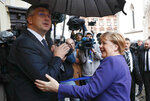 German Chancellor Angela Merkel, right, meets Croatia's prime minister Andrej Plenkovic in Zagreb, Croatia, Wednesday, Nov. 20, 2019. will attend the European Peoples Party (EPP) congress in the Croatian capital. (AP Photo/Darko Bandic)