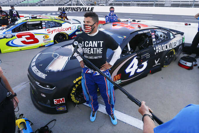 AP Interview: NASCAR'S Bubba Wallace finds voice