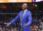 Memphis head coach Penny Hardaway calls to his players in the first half of an NCAA college basketball game against Mississippi, Saturday, Nov. 23, 2019, in Memphis, Tenn. (AP Photo/Karen Pulfer Focht)