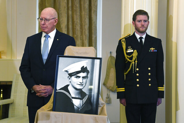 Australian Governor-General David Hurley, left, makes an announcement in relation to the awarding of a Victoria Cross to sailor Edward