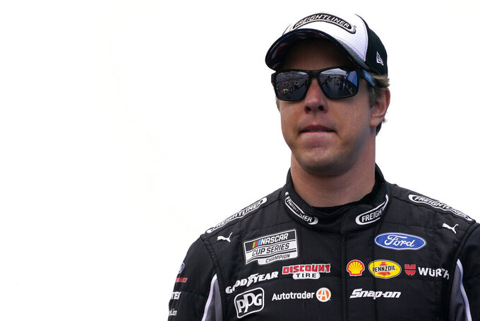 Brad Keselowski at a NASCAR Cup Series auto race, Sunday, July 18, 2021, in Loudon, N.H. (AP Photo/Charles Krupa)