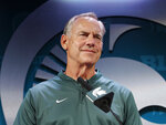 FILE - In this Aug. 6, 2018, file photo Michigan State coach Mark Dantonio addresses reporters during the team's NCAA college football media day in East Lansing, Mich. No. 11 Michigan State tries for its 20th straight win in a home opener when it hosts Utah State on Friday night. (AP Photo/Al Goldis, File)